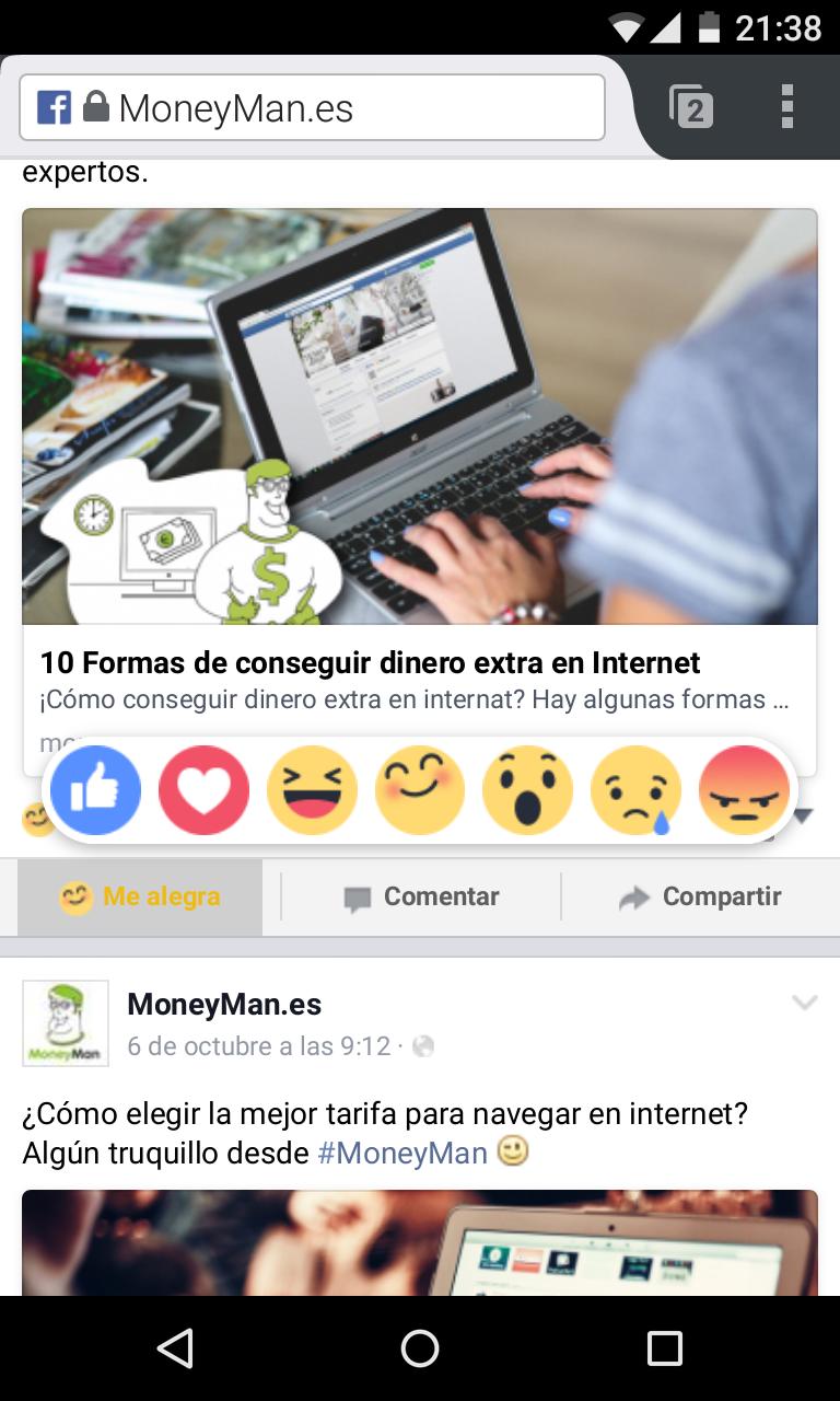 Facebook estrena su nuevo botón
